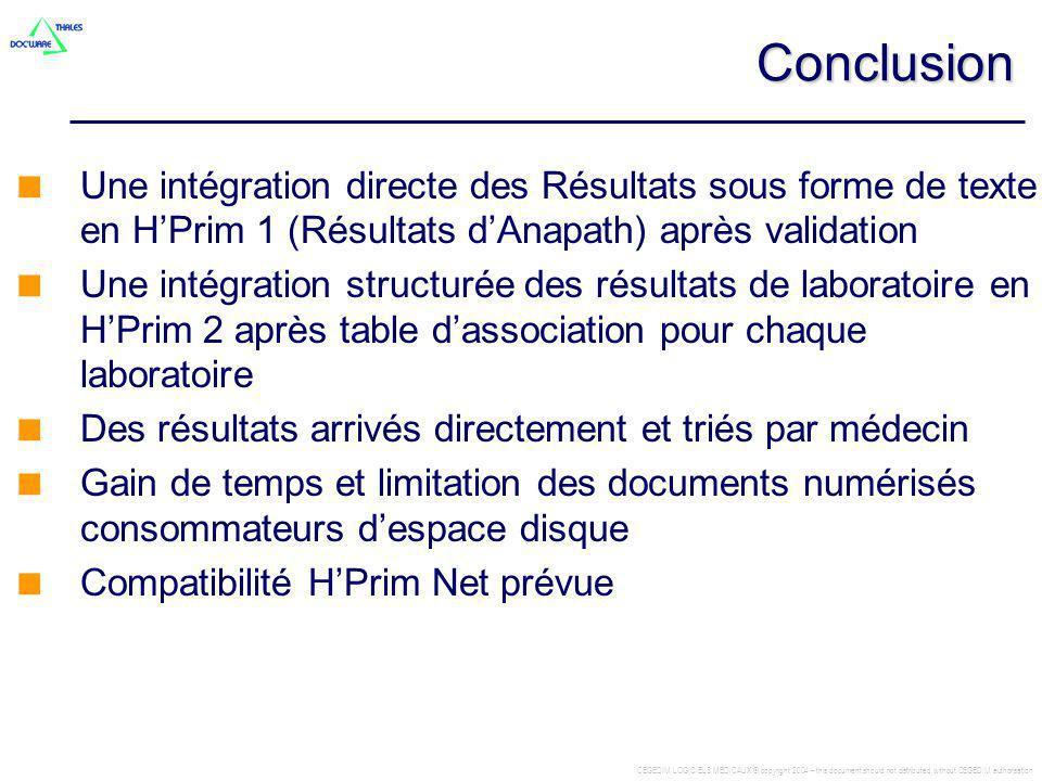 Conclusion Une intégration directe des Résultats sous forme de texte en H'Prim 1 (Résultats d'Anapath) après validation.