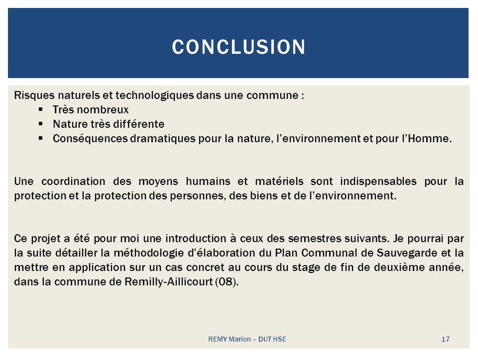 Conclusion Risques naturels et technologiques dans une commune :