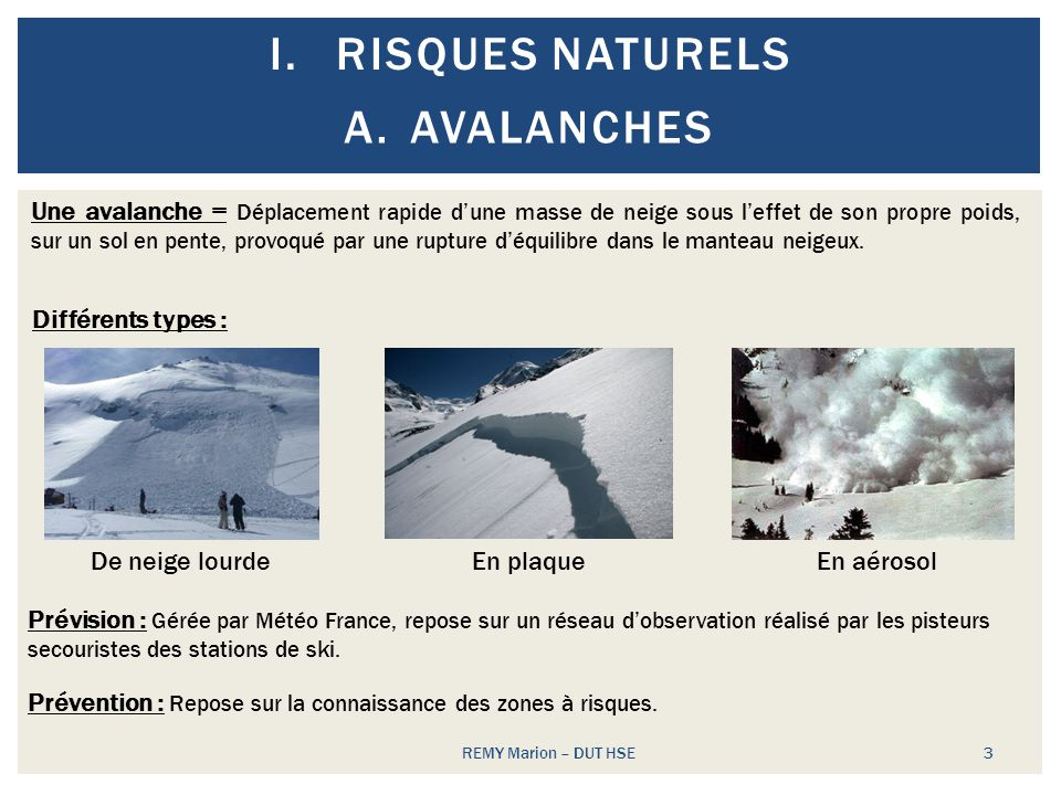 Risques naturels Avalanches