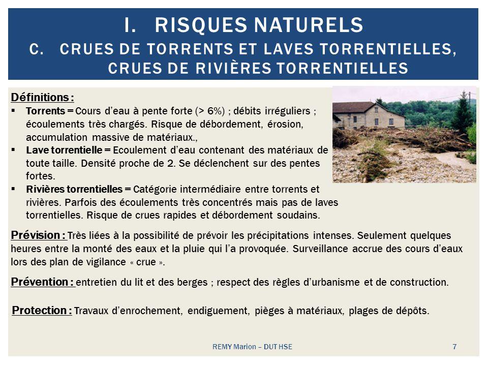 Risques naturels Crues de torrents et laves torrentielles, crues de rivières torrentielles. Définitions :