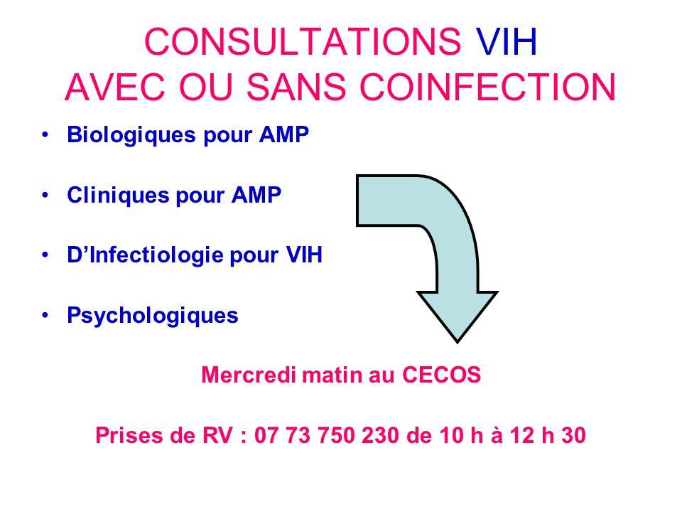 CONSULTATIONS VIH AVEC OU SANS COINFECTION