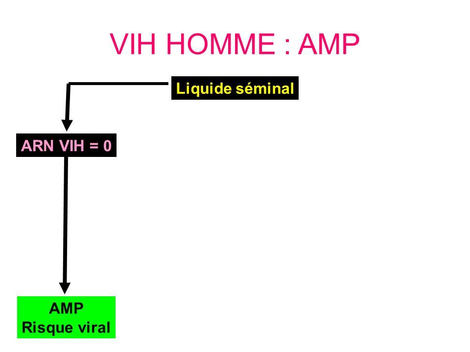 VIH HOMME : AMP Liquide séminal ARN VIH = 0 AMP Risque viral