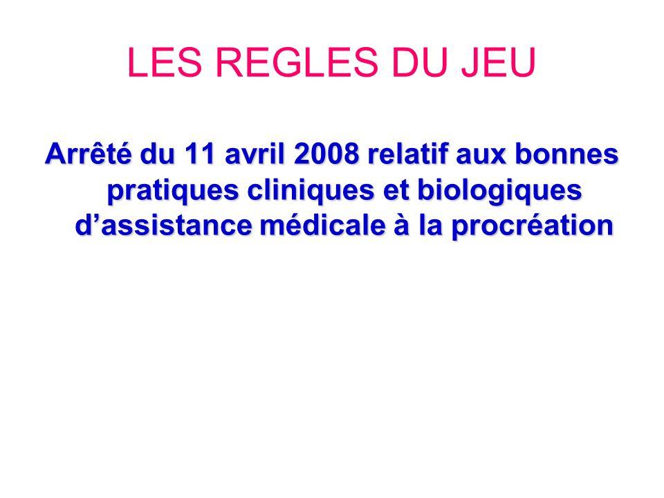 LES REGLES DU JEU Arrêté du 11 avril 2008 relatif aux bonnes pratiques cliniques et biologiques d'assistance médicale à la procréation.