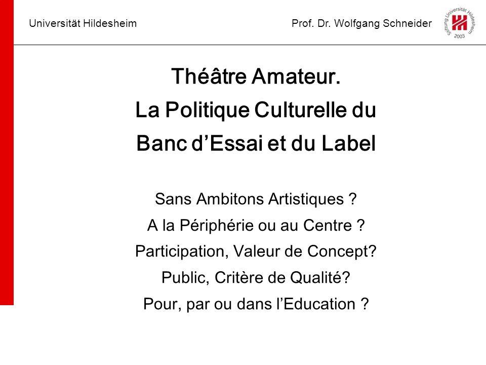 La Politique Culturelle du Banc d'Essai et du Label