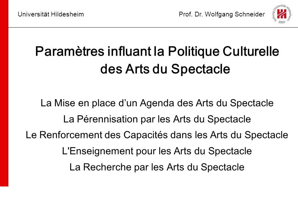 Paramètres influant la Politique Culturelle des Arts du Spectacle