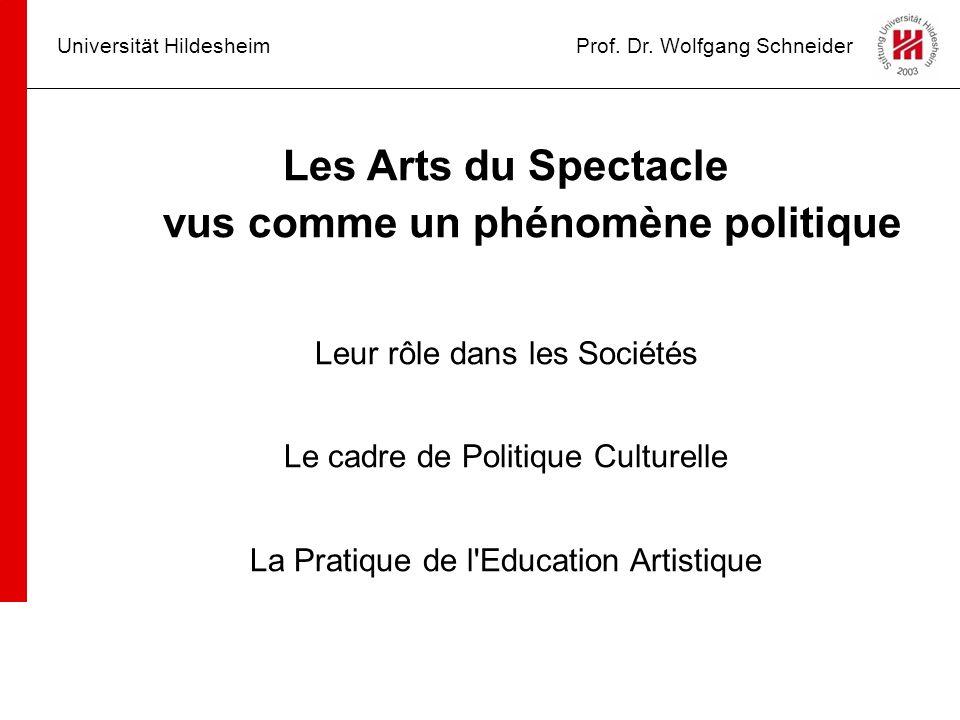 Les Arts du Spectacle vus comme un phénomène politique