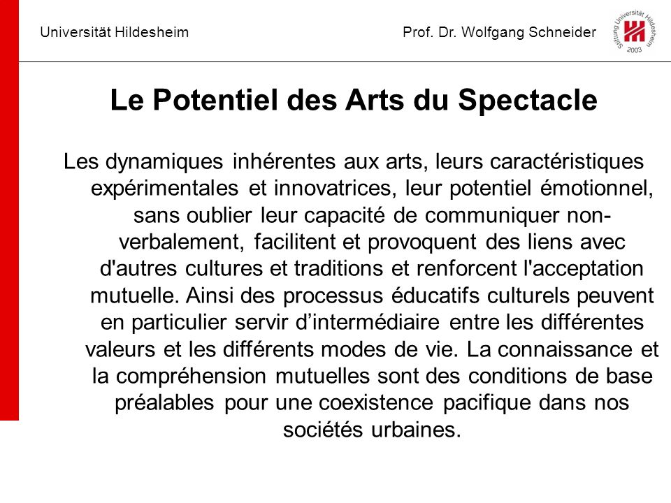 Le Potentiel des Arts du Spectacle