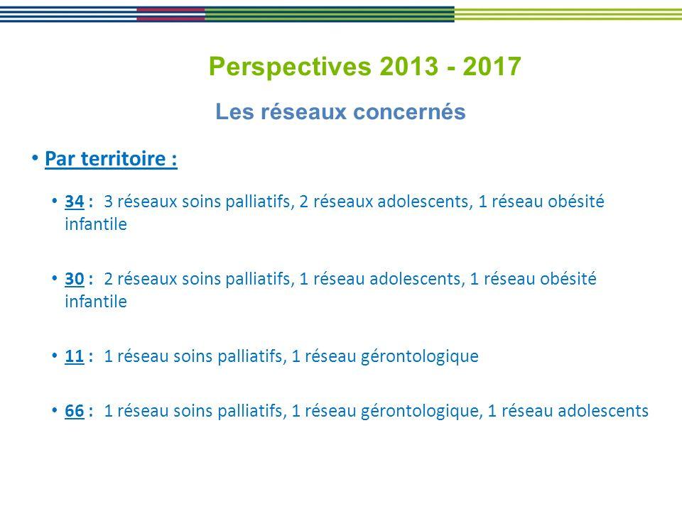 Perspectives 2013 - 2017 Les réseaux concernés Par territoire :