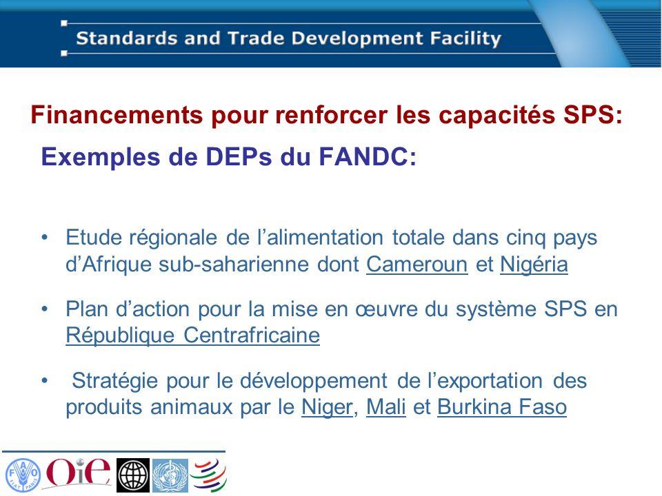 Exemples de DEPs du FANDC: