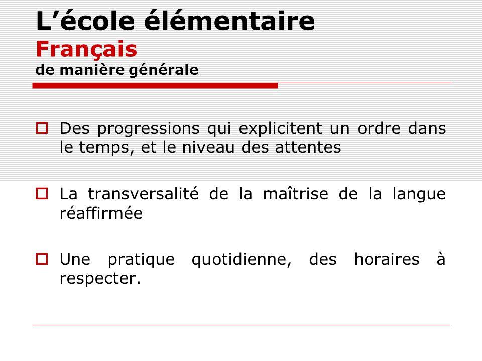 L'école élémentaire Français de manière générale