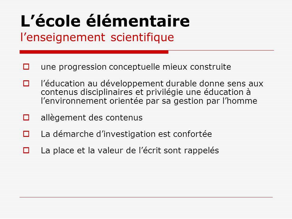 L'école élémentaire l'enseignement scientifique
