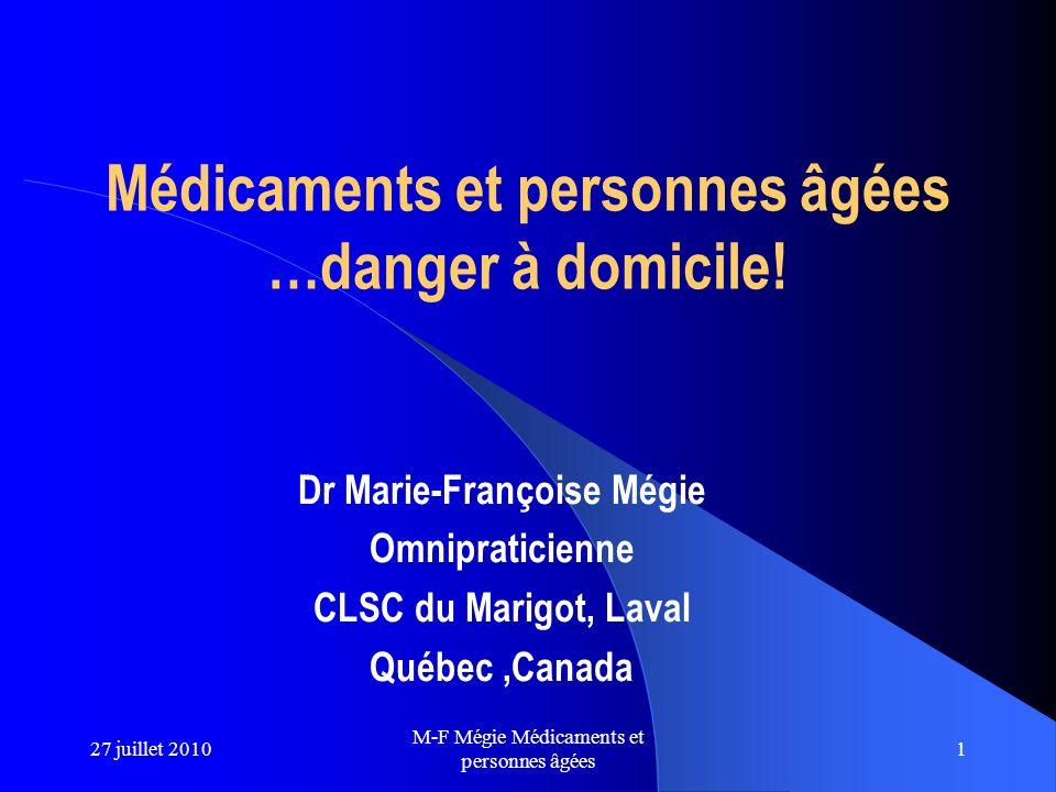 Médicaments et personnes âgées …danger à domicile!