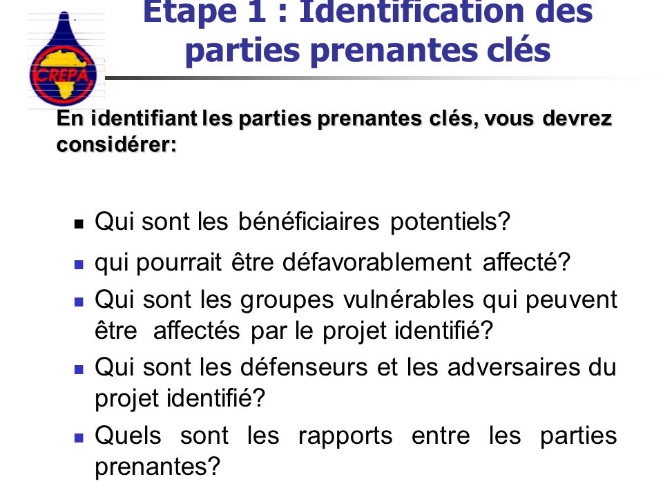 Etape 1 : Identification des parties prenantes clés