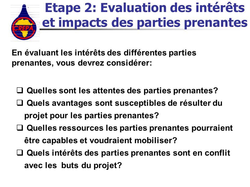 Etape 2: Evaluation des intérêts et impacts des parties prenantes