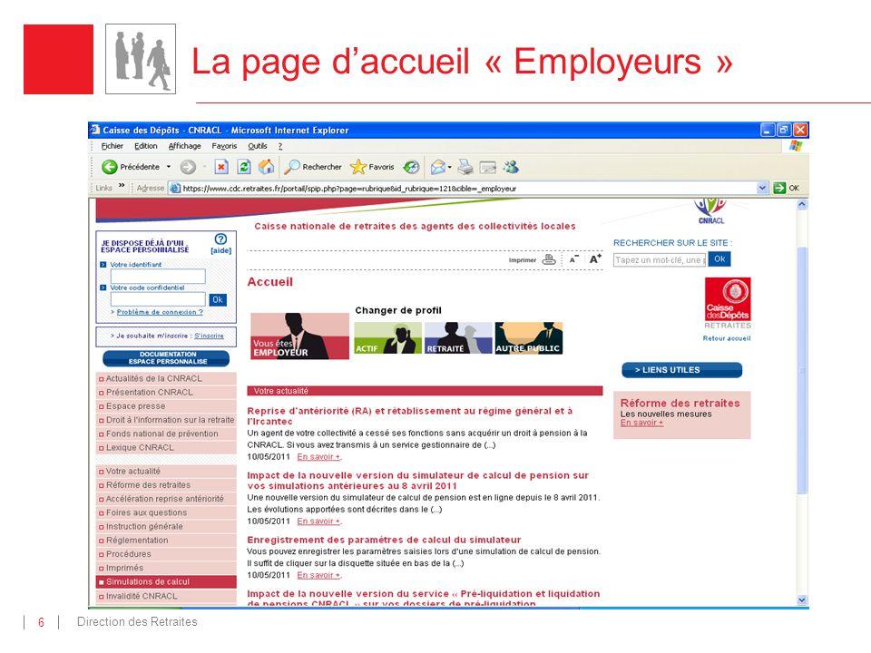 La page d'accueil « Employeurs »