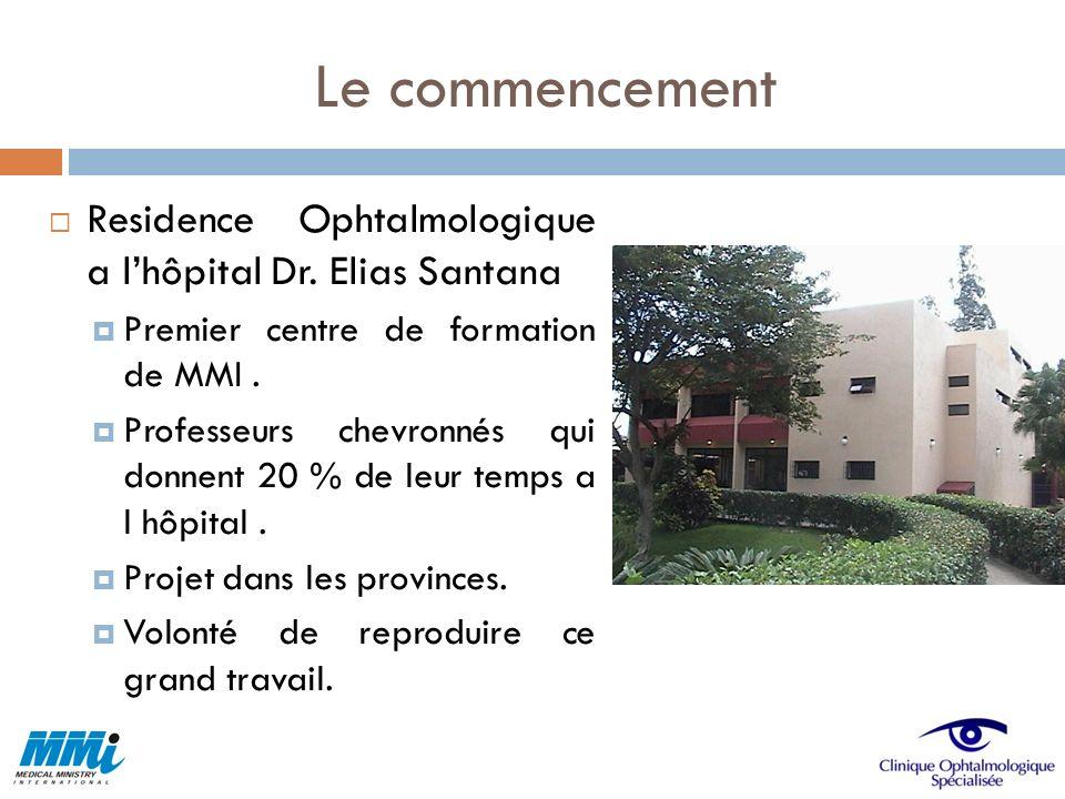 Le commencement Residence Ophtalmologique a l'hôpital Dr. Elias Santana. Premier centre de formation de MMI .