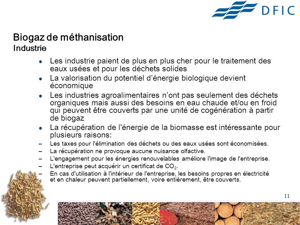Biogaz de méthanisation Industrie