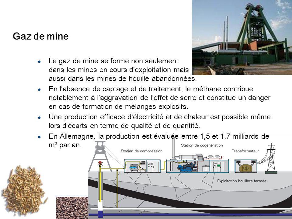 Gaz de mine Le gaz de mine se forme non seulement dans les mines en cours d exploitation mais aussi dans les mines de houille abandonnées.