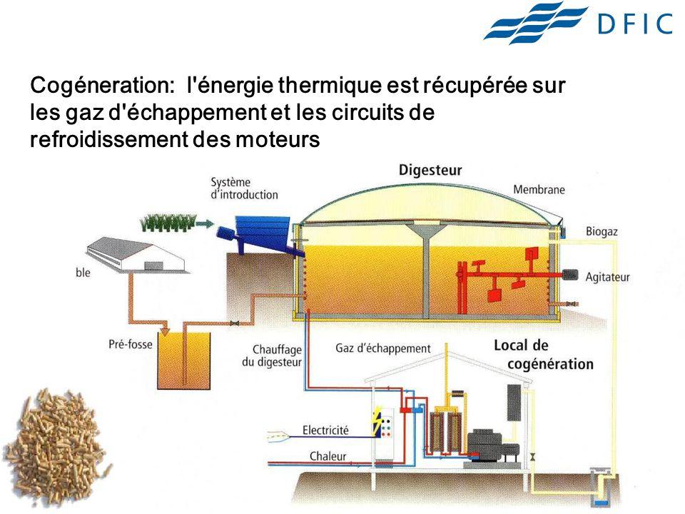 Cogéneration: l énergie thermique est récupérée sur les gaz d échappement et les circuits de refroidissement des moteurs