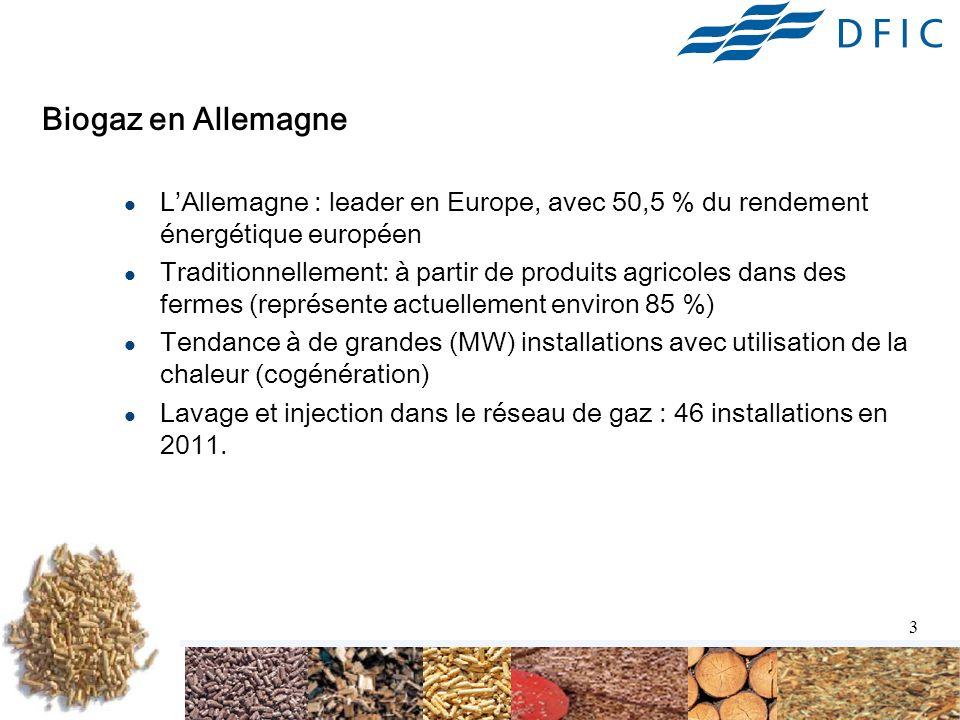 Biogaz en Allemagne L'Allemagne : leader en Europe, avec 50,5 % du rendement énergétique européen.