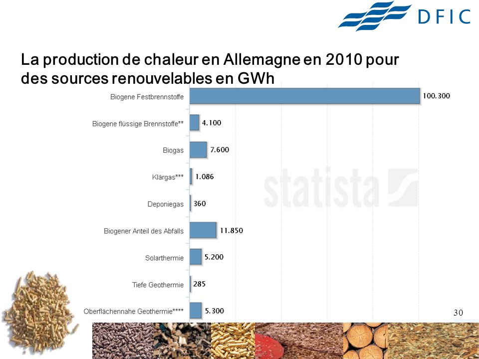 La production de chaleur en Allemagne en 2010 pour des sources renouvelables en GWh