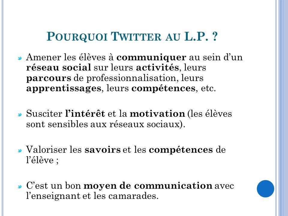 Pourquoi Twitter au L.P.