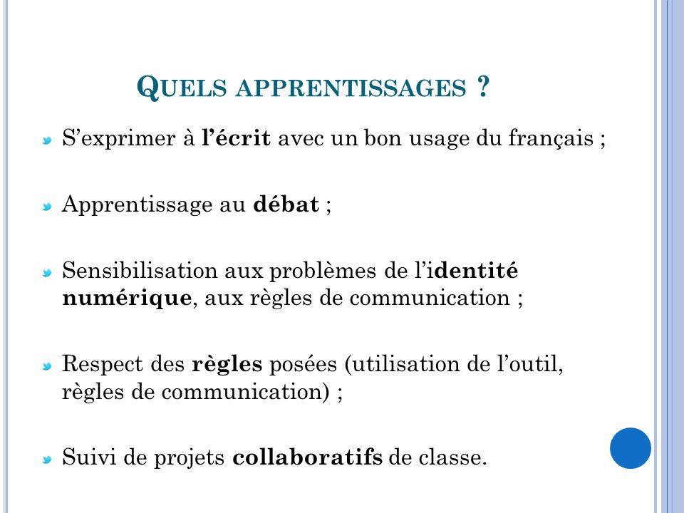 Quels apprentissages S'exprimer à l'écrit avec un bon usage du français ; Apprentissage au débat ;