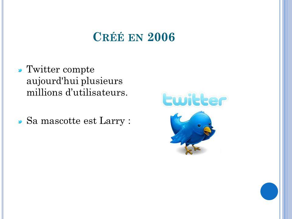 Créé en 2006 Twitter compte aujourd hui plusieurs millions d'utilisateurs.