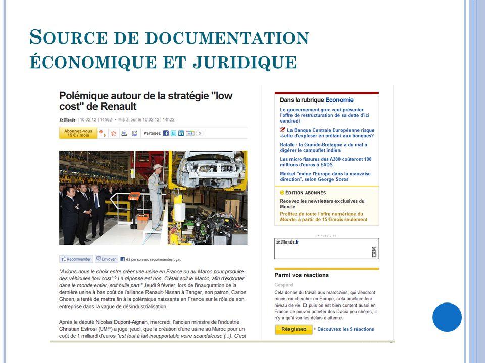Source de documentation économique et juridique