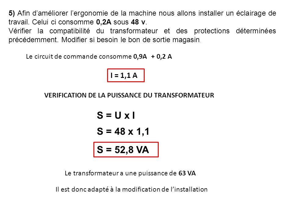 5) Afin d'améliorer l'ergonomie de la machine nous allons installer un éclairage de travail. Celui ci consomme 0,2A sous 48 v.