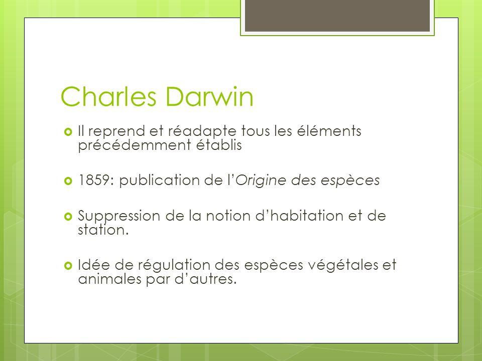 Charles Darwin Il reprend et réadapte tous les éléments précédemment établis. 1859: publication de l'Origine des espèces.