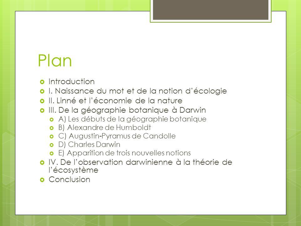 Plan Introduction I. Naissance du mot et de la notion d'écologie