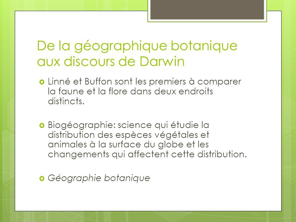 De la géographique botanique aux discours de Darwin