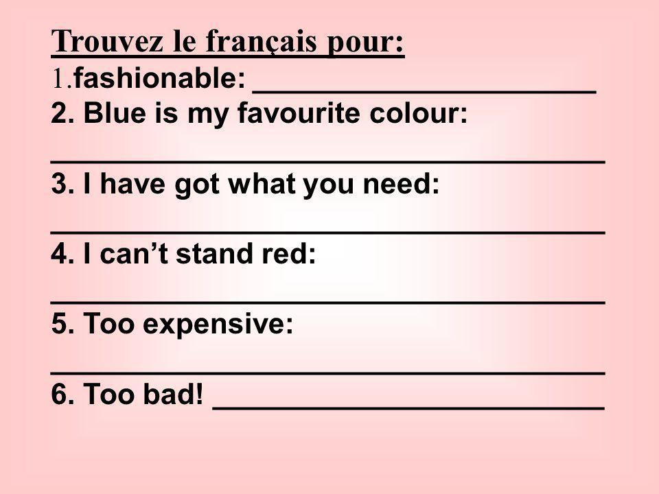 Trouvez le français pour: