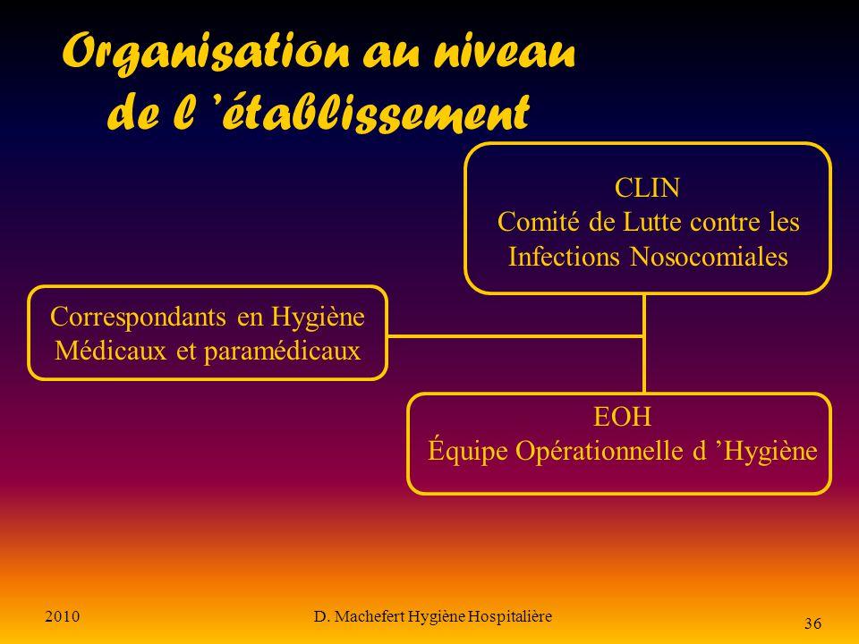 Organisation au niveau de l 'établissement