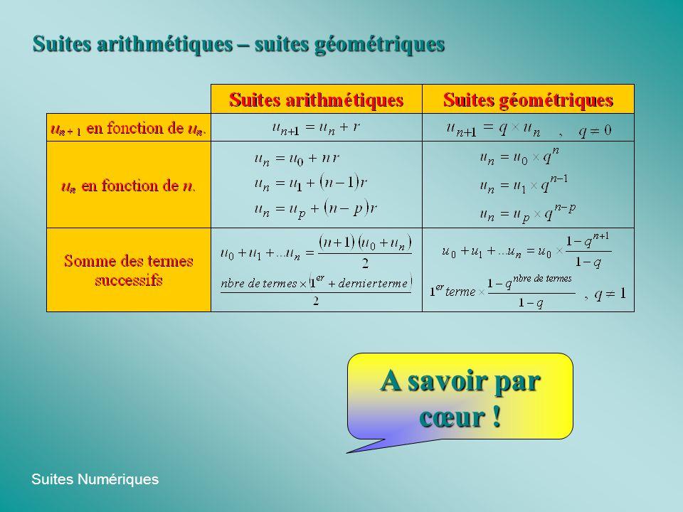Suites arithmétiques – suites géométriques