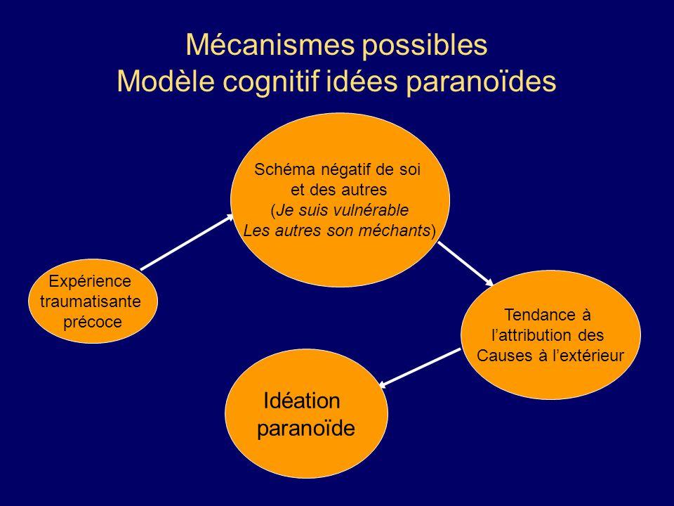 Mécanismes possibles Modèle cognitif idées paranoïdes