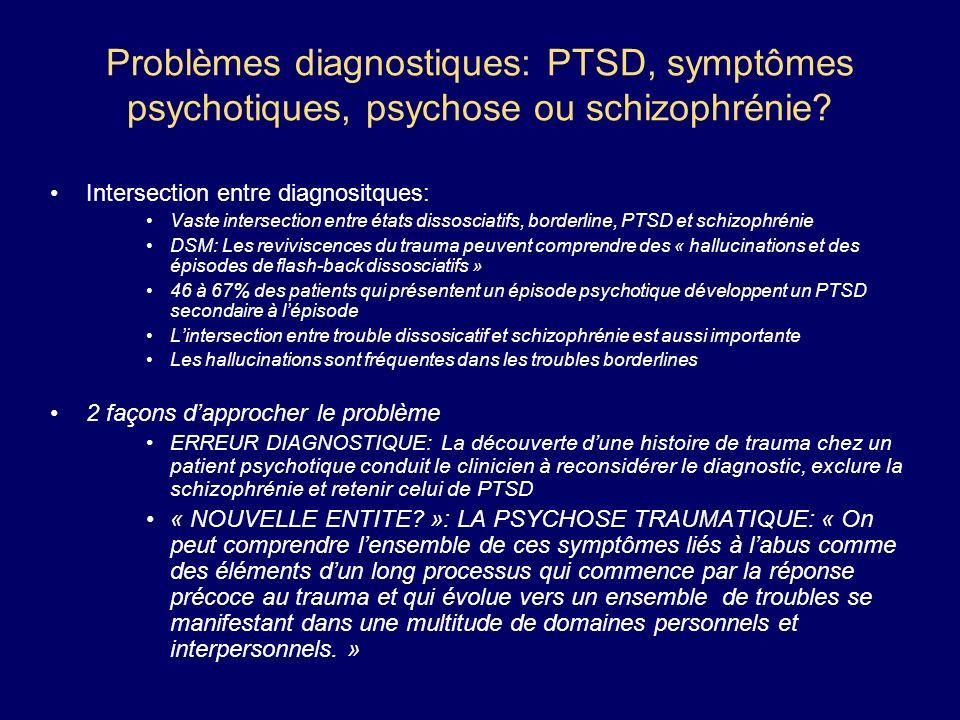 Problèmes diagnostiques: PTSD, symptômes psychotiques, psychose ou schizophrénie