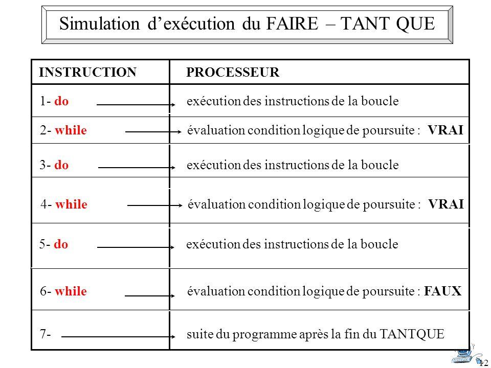 Simulation d'exécution du FAIRE – TANT QUE