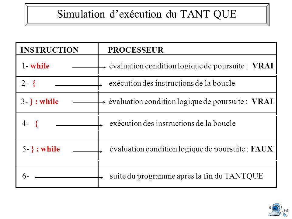 Simulation d'exécution du TANT QUE