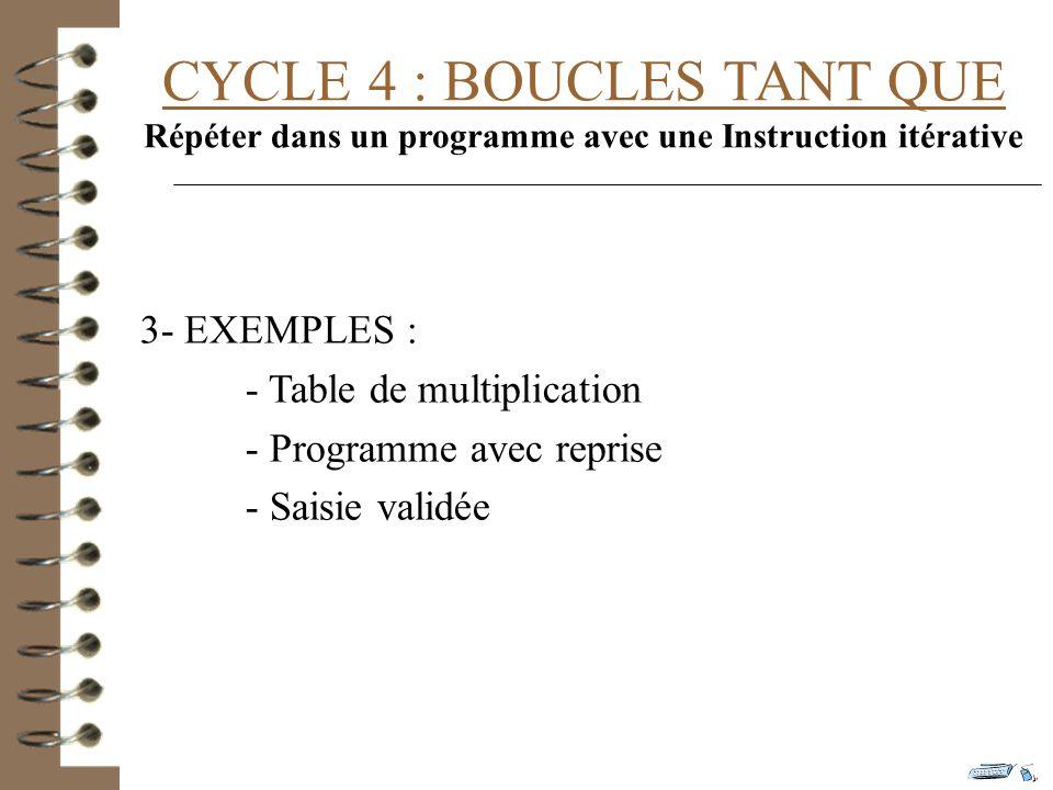 Répéter dans un programme avec une Instruction itérative