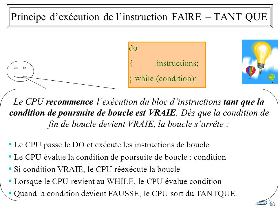 Principe d'exécution de l'instruction FAIRE – TANT QUE