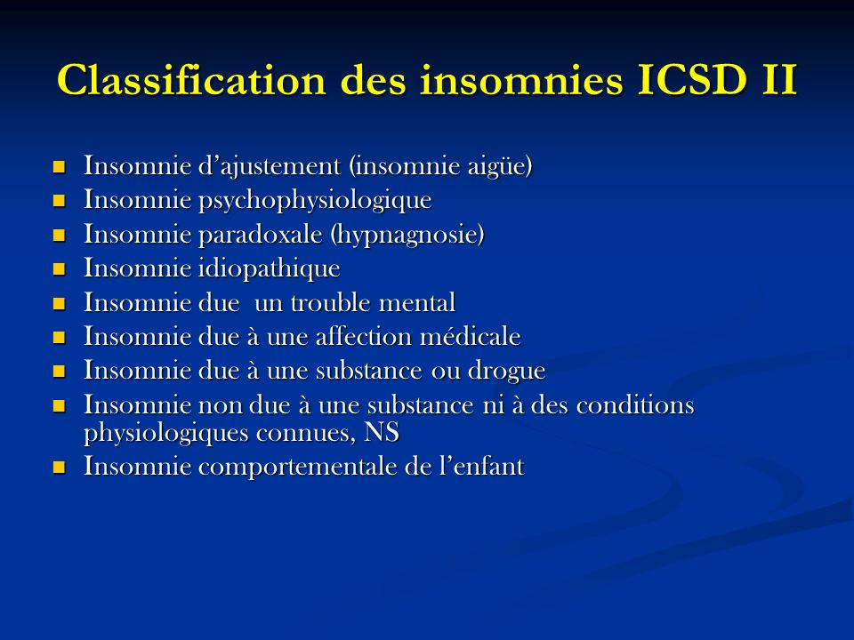 Classification des insomnies ICSD II