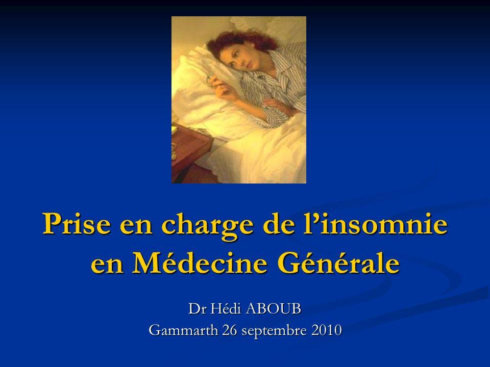 Prise en charge de l'insomnie en Médecine Générale