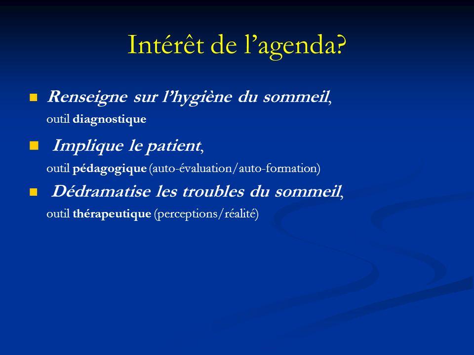 Intérêt de l'agenda Implique le patient,