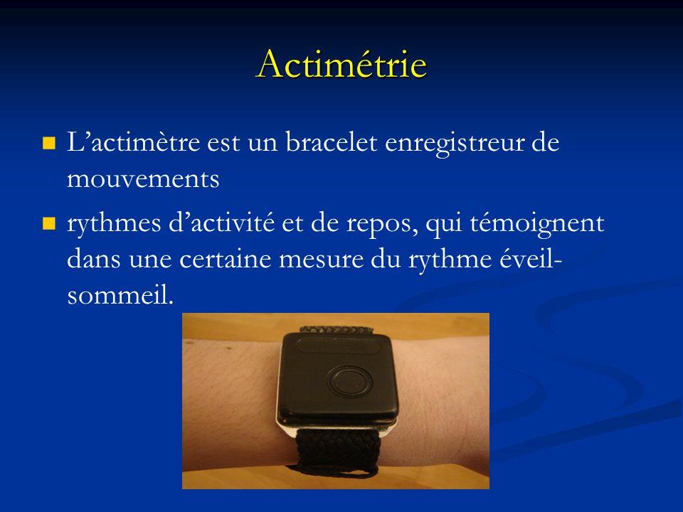 Actimétrie L'actimètre est un bracelet enregistreur de mouvements
