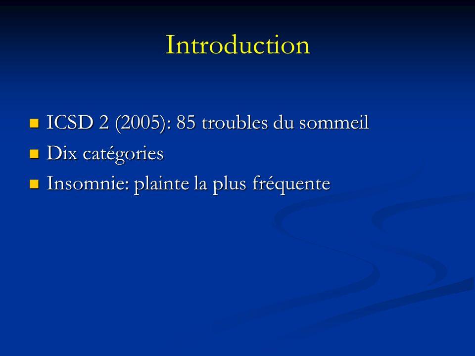 Introduction ICSD 2 (2005): 85 troubles du sommeil Dix catégories