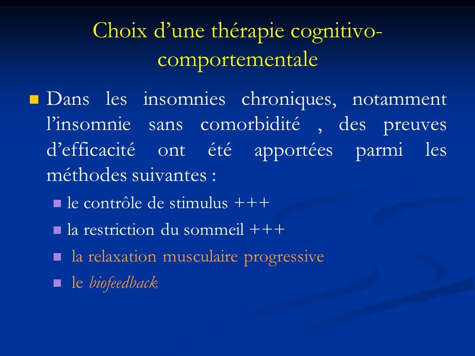 Choix d'une thérapie cognitivo-comportementale