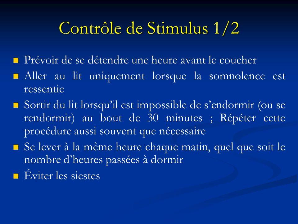 Contrôle de Stimulus 1/2 Prévoir de se détendre une heure avant le coucher. Aller au lit uniquement lorsque la somnolence est ressentie.