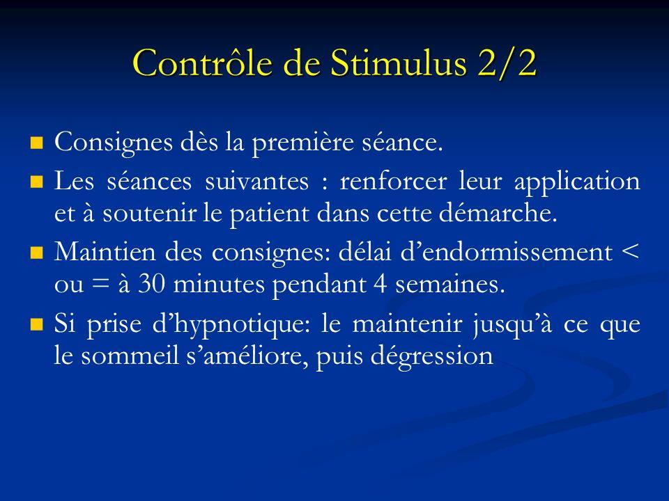 Contrôle de Stimulus 2/2 Consignes dès la première séance.